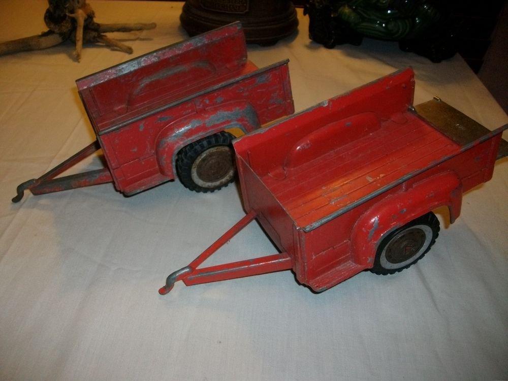 Pair of Vintage DIE CAST RED HUBLEY TRAILERs  #800  HOT WHEELS TONKA TRUCK ~Boys