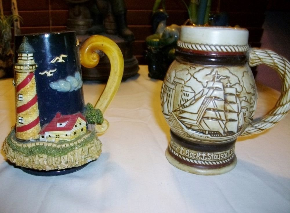 VTG 1982 Avon BOAT NAUTICAL LIGHTHOUSE Stoneware BEER Steins  ~2~ SEAGULLS SHIP