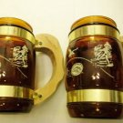 Vintage Glass SIESTA WARE Amber Brass BEER MUGS Wooden Handles Saloon Original