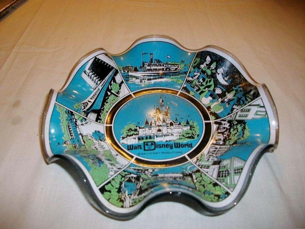1950's RARE Vintage DISNEYWORLD MAGIC KINGDOM Glass ~Candy Dish ~USA~ BLUE