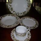 CHRISTMAS AMERICAN ATELIER #3373 HEAVENLY HOSTS ANGELS CHERUBS  GOLD ~DINNERWARE