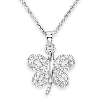 925 Sterling Silver Faux Diamond Crystal Butterfly Charm Pendant Chain Necklace