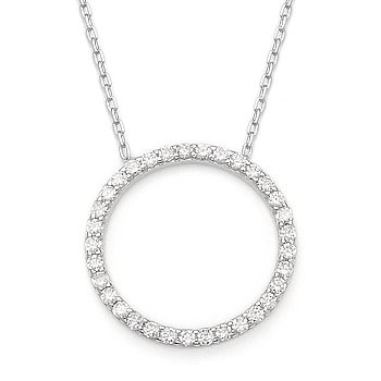 Eternity Circle Cubic Zirconia CZ Crystal Pendant .925 Sterling Silver Necklace