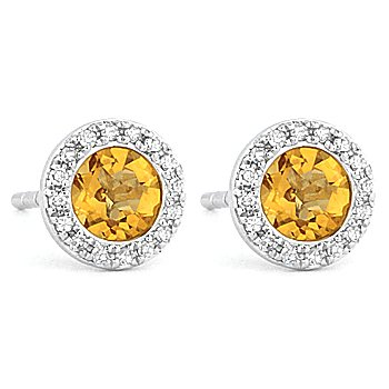 1.05ct Round Cut Citrine Gemstone & Diamond Martini Stud Earrings 14k White Gold