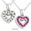 0.65ct Pink Sapphire Diamond Heart Charm 2-Sided Necklace Pendant 14k White Gold
