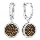 3.35ct Round Cut CZ Crystal Pave Dangling Fashion Earrings - 925 Sterling Silver