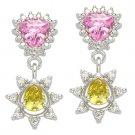 Faux Citrine & Pink Topaz CZ Crystal Dangling Earrings Women's Fashion Jewelry