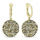 1.95ct Fancy & White Diamond Dangling Drop Earrings 2-tone 14k Yellow Black Gold