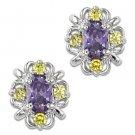 Sterling Silver Faux Amethyst & Topaz Stud Cubic Zirconia CZ Crystal Earrings