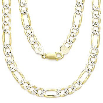 Italy .925 Sterling Silver 14k Yellow Gold 6.8mm Figaro Link Chain Pave Necklace