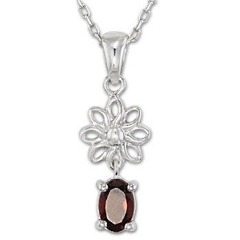 "925 Sterling Silver Faux Garnet Cubic Zirconia CZ Crystal Pendant 18"" Necklace"