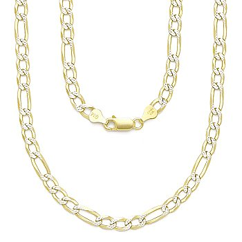 .925 Sterling Silver 14k Yellow Gold 5mm Figaro Link Italian Chain Pave Necklace