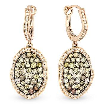 1.98ct Fancy & White Diamond Dangling Drop Earrings Two-tone 14k Rose Black Gold