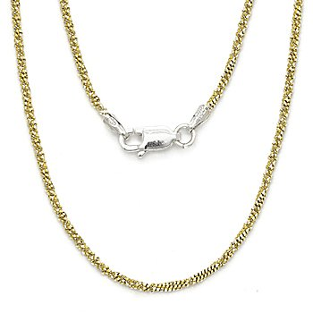 Sterling Silver 14k Gold 1.7mm Twist-Rope Italy Chain Necklace 16 18 20 22 Inch