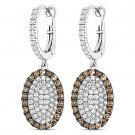 3.36ct Round Cut CZ Crystal Pave Dangling Fashion Earrings - 925 Sterling Silver