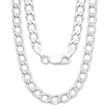 Sterling Silver 3.7mm Cuban / Curb Link Diamond Cut Pave Italian Chain Necklace