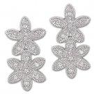 .925 Sterling Silver Faux Diamond Crystal Womens Ladies Milgrain Flower Earrings