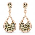 1.24 ct Fancy Color & White Diamond Dangling Earrings in 14k Rose & Black Gold