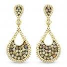 1.26 ct Fancy Color & White Diamond Dangling Earrings in 14k Yellow & Black Gold