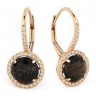 3.75 ct Smoky Topaz Round Cut Diamond Leverback Dangling 14k Rose Gold Earrings