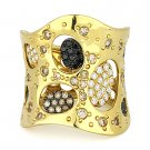 1.17 ct Brown Black & White Diamond Right-Hand Ladies' Long Ring 18k Yellow Gold