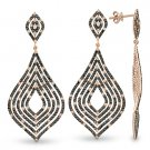 3.54 ct White Black Diamond Pave Drop Dangling 14k Rose Gold Chandelier Earrings