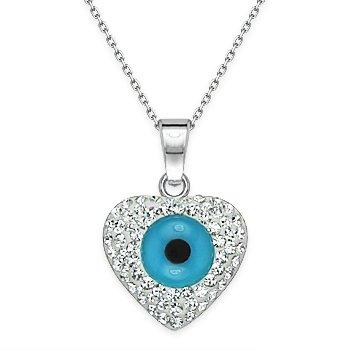 Evil Eye Turkish Nazar Pendant Greek Hamsa Heart Charm Sterling Silver Necklace