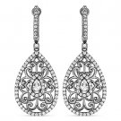 2.56 ct Round Cut CZ Crystal Dangling 925 Sterling Silver Black Rhodium Earrings