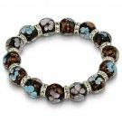 Lampwork Beaded Murano Glass Bead Flower Bracelet Black