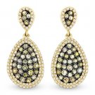 1.48 ct Fancy Color & White Diamond Dangling Earrings in 14k Yellow & Black Gold