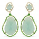 31.80 ct Amazonite, Green Garnet, & Diamond Dangling Earrings in 14k Yellow Gold