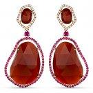 32.34ct Fancy Red Agate, Pink Sapphire & Diamond Dangling 14k Rose Gold Earrings