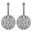 2.28 ct Round Cut CZ Crystal Dangling 925 Sterling Silver Black Rhodium Earrings