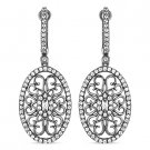 1.90 ct Round Cut CZ Crystal Dangling 925 Sterling Silver Black Rhodium Earrings