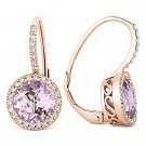 2.77 ct Pink Amethyst Round Diamond Leverback Dangling Earrings in 14k Rose Gold