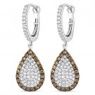 3.24ct Round Cut CZ Crystal Pave Dangling Fashion Earrings - 925 Sterling Silver