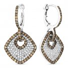 5.27ct Round Cut CZ Crystal Pave Dangling Fashion Earrings - 925 Sterling Silver