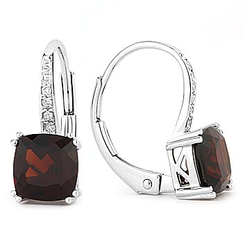 2.42ct Cushion Cut Garnet Gem Diamond Leverback Dangling 14k White Gold Earrings