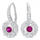 0.43 ct Round Cut Red Ruby & Diamond Leverback Dangling Earrings 14k White Gold