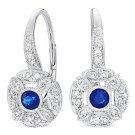 0.42 ct Round Cut Diamond & Sapphire Leverback Dangling Earrings 14k White Gold