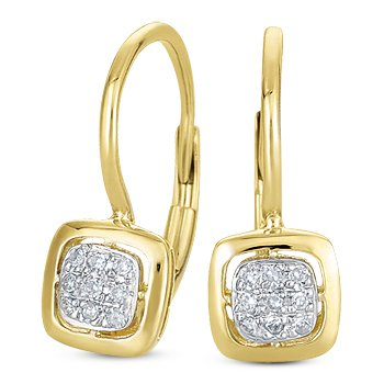 0 07ct Round Brilliant Cut Diamond Dangling Leverback Earrings 14k Yellow Gold