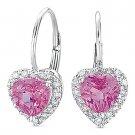 1.54ct Heart-Shape Pink Corundum & Diamond Leverback Dangling Earrings 14k Gold