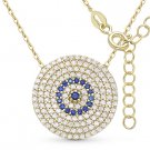 Evil Eye CZ Charm Crystal Pendant Turkish Nazar Greek Sterling Silver Necklace