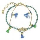 Hamsa Hand or Fatima Evil Eye Judaica Kabbalah Charm Beaded CZ Crystal Bracelet