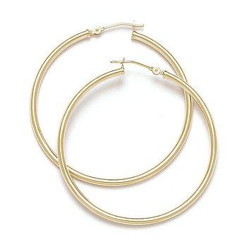 "14k Yellow / White Gold 40mm 1.6"" Round Hoop Earrings 2mm Diamond-Cut Tube Hoops"