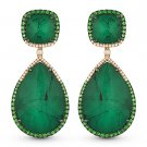 30.61 ct Emerald, Green Garnet, & Diamond Dangling 14k Rose Black Gold Earrings