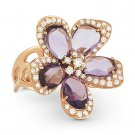 6.58 ct Fancy Amethyst & Round Cut Diamond Flower Cocktail Ring in 14k Rose Gold