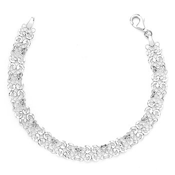 925 Italy Sterling Silver Diamond-Cut Filigree Mesh Link Italian Chain Bracelet