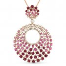 3.02ct Pink Sapphire & Diamond Cluster Pendant & Chain Necklace in 14k Rose Gold