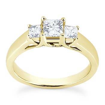 Square Brilliant Cut Moissanite 3 Three-Stone Engagement Ring in 14k Yellow Gold